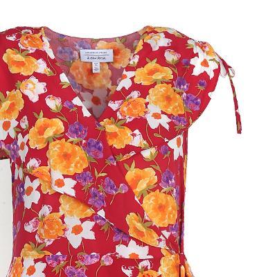 flower pattern wrap dress multi